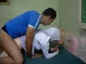 Hot Egyptian Hijab wearing girl is mounted by her boyfriend and gets dicked
