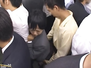 Raunchy Japanese short haired girl is groped and then fucked hardcore in public.