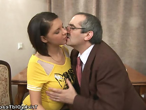 Sweet Russian babe gets her tight pussy stretched by a dominant teachers cock.